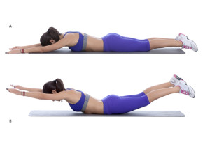 Step by step instructions: Lie face down on the floor, with your arms and legs extended, so your body forms a straight line. (A) Keeping your head and neck in a neutral position, simultaneously lift your arms and legs up toward the ceiling to form a gentle curve with your body. (B)